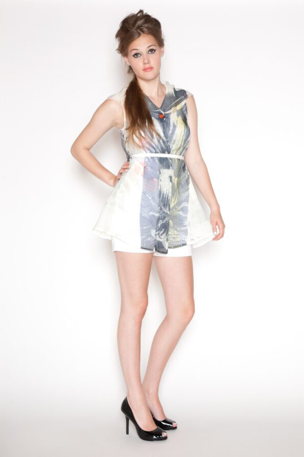Lotus smock white belted right