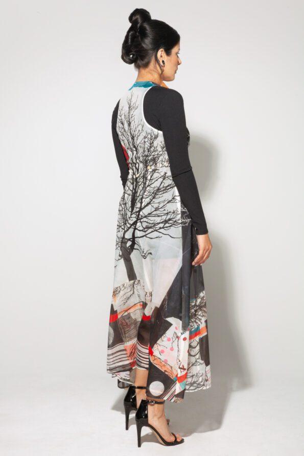 Tree Bustle Dress coal and heart back